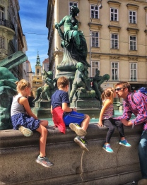 Enjoying one of the many fountains of Vienna