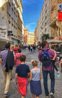 Walking along the lovely streets of Vienna to get Phil's favorite gelato!