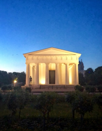 A replica of the Temple of Hephaestus in Athens, assembled here in the rose garden in Vienna