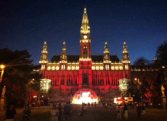 A well-lit City Hall for the Festival of Dance!