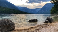 An evening dip for Dianna and Jessie in the chilly Lake Bohinj