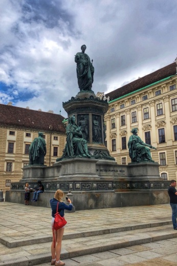 Emperor Franz monument with women depicting faith, peace, justice and power