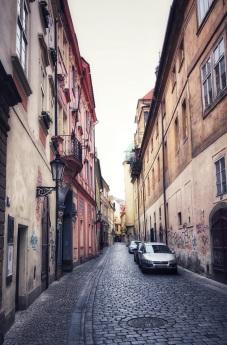 Deserted morning streets of Prague