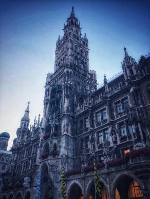 Marienplatz, Munich, with the Rathaus Glockenspiel tower