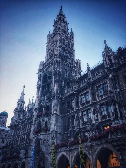 Marienplatz, Munich, with the Rathaus Glockenspiel tower