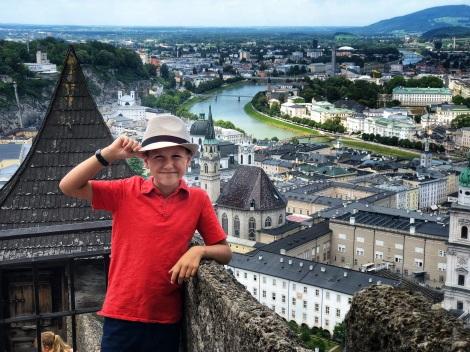 Beau on the Salzburg castle steps