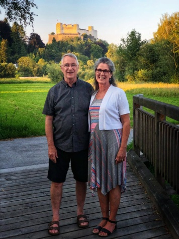 Evening touring through the Salzburg countryside, view of Salzburg Castle in the background