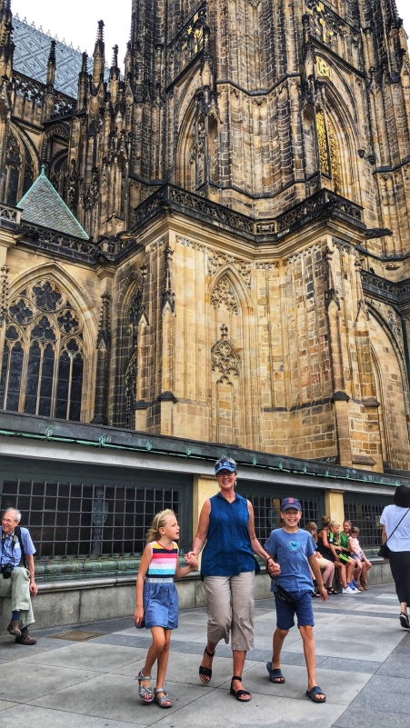 Inside Prague Castle with St. Vitus Cathedral in the background