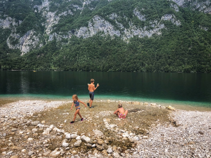 Taking a dip in Lake Bohinj!