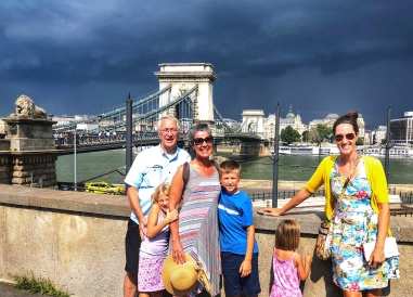 Storm is looming with the chain bridge in the background