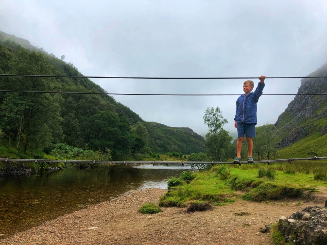 Rope bridge that crosses the Water of Nevis