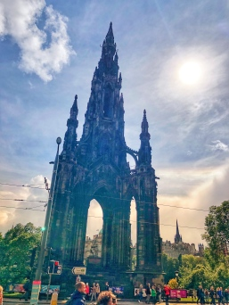 """Walking back to the hotel on Princes street, past this Monument to Sir Walter Scot """"The Scots Monument"""""""