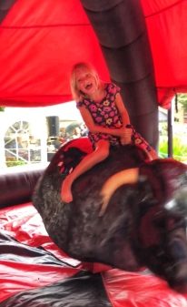 Bull riding! Mommy came in 3rd place!