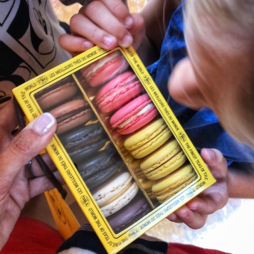 A pit stop for delicious macarons from one of the many tea shops on the way!